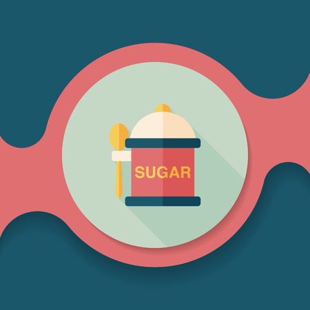 sweetener: kitchenware sugar flat icon with long shadow,eps10