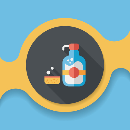 lavar platos: kitchenware dish soap flat icon with long shadow,eps10 Vectores