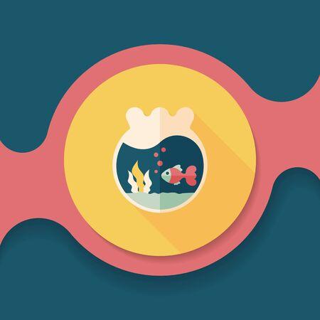 goldenfish: Pet goldfish bowl flat icon with long shadow,eps10