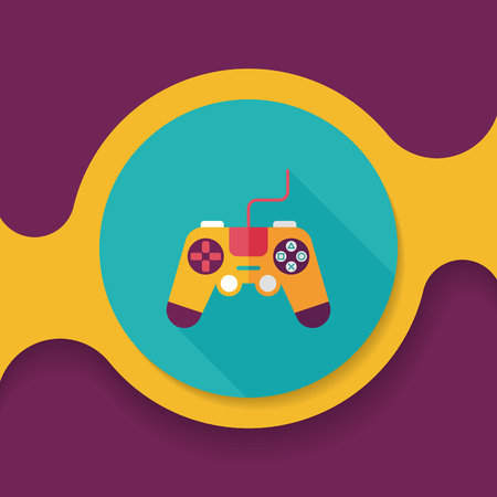 arcade games: joystick flat icon with long shadow,eps10 Illustration