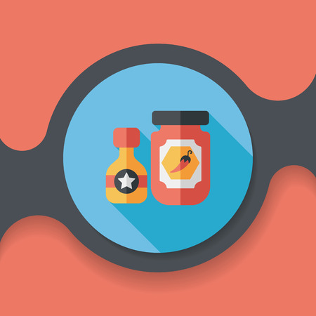 sauce: kitchenware hot sauce flat icon with long shadow,eps10