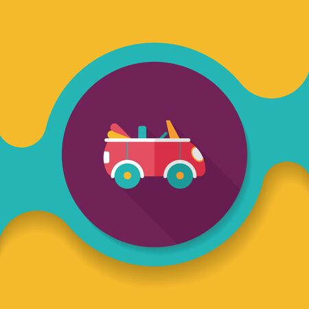 open car: Transportation open car flat icon with long shadow,eps10 Illustration