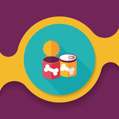 food can: Pet dog food can flat icon with long shadow,eps10
