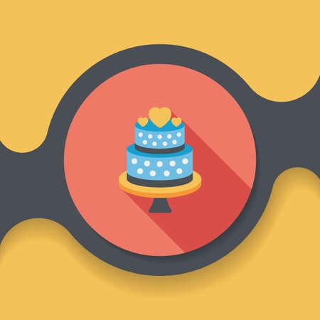 wedding celebration: wedding cake flat icon with long shadow,eps10 Illustration