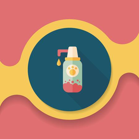 hair wash: Pet shampoo flat icon with long shadow