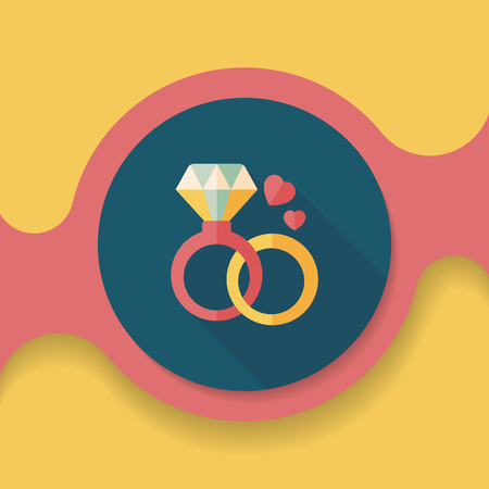 valuables: Valentines Day diamond ring flat icon with long shadow,eps10
