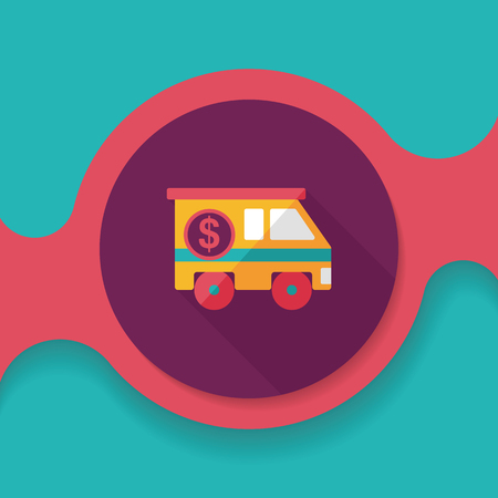 Armored car flat icon with long shadow,eps10