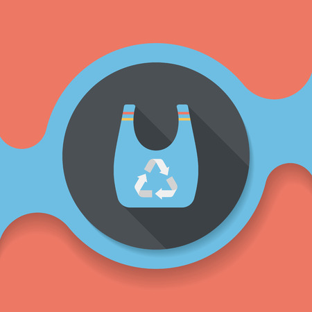 or recycled: Environmental protection concept flat icon with long shadow,eps10; Recycled shopping bag