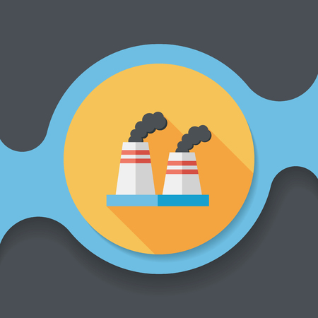 pollute: Environmental protection concept flat icon with long shadow, The factory do well on emission to not pollute the air and environment