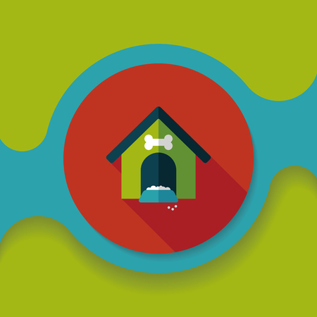 dog house: Pet dog house flat icon with long shadow,eps10