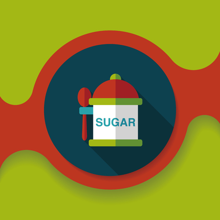 sugar spoon: kitchenware sugar flat icon with long shadow,eps10