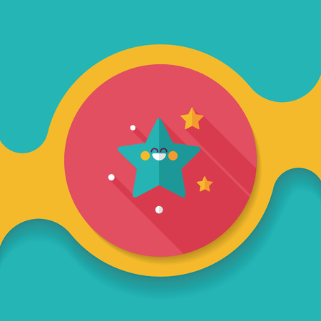 lunar phases: Space star flat icon with long shadow