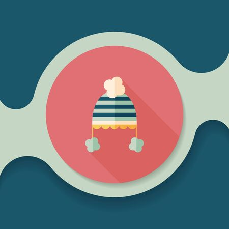 winter hat: baby hat flat icon with long shadow Illustration
