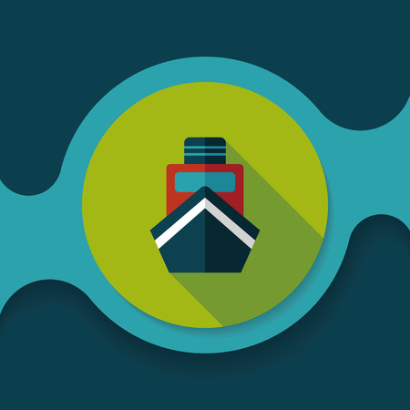 cruising: boat flat icon with long shadow Illustration
