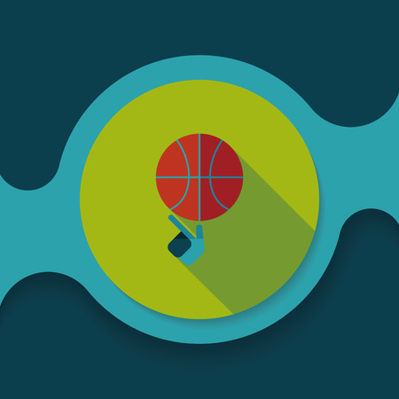 Basketball flat icon with long shadow Vetores