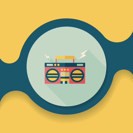 ghetto: ghetto blaster audio flat icon with long shadow