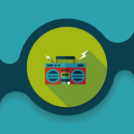 ghetto blaster: ghetto blaster audio flat icon with long shadow