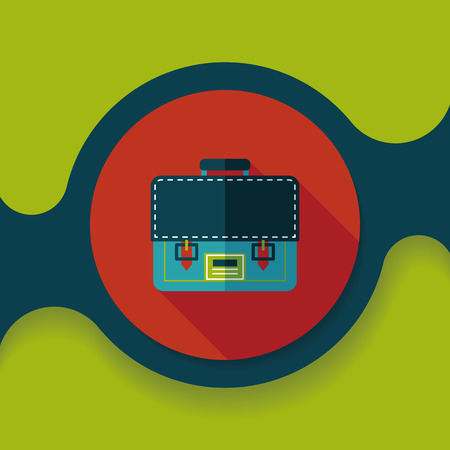 office stuff: briefcase school bag flat icon with long shadow