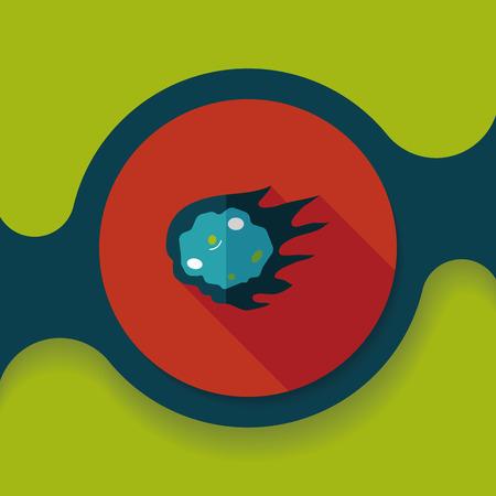 meteorite: Space Meteorite flat icon with long shadow