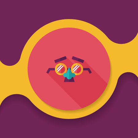 fake nose and glasses: party Mask flat icon with long shadow