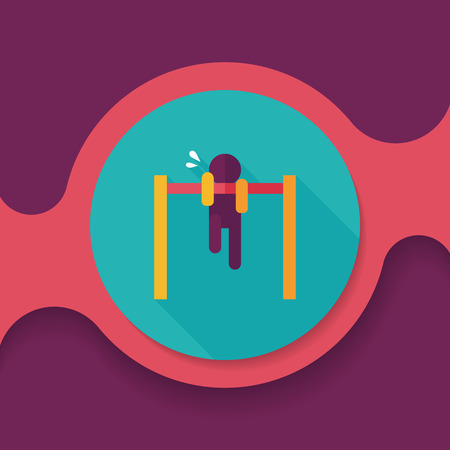 muscularity: pull-up flat icon with long shadow Illustration