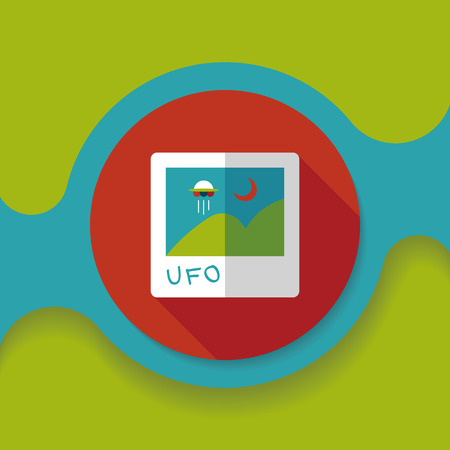 invaders: Space UFO photo flat icon with long shadow Illustration