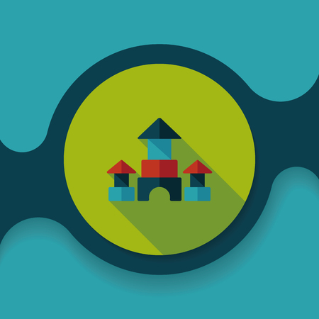 edifice: brick house flat icon with long shadow
