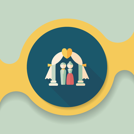 be married: wedding ceremony flat icon with long shadow