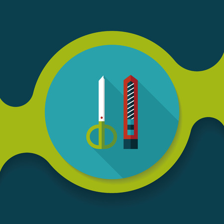 retractable: Scissors and paper knife flat icon with long shadow