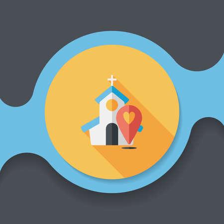 church service: wedding church flat icon with long shadow Illustration