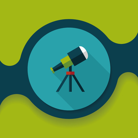 Telescope flat icon with long shadow Vector Illustration