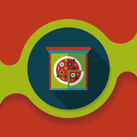 binge: Pizza flat icon with long shadow