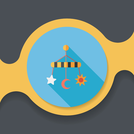 hanging toy: Baby crib hanging toy flat icon with long shadow Illustration