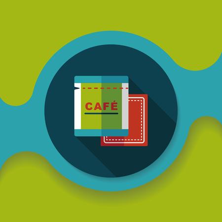 coffee bag: coffee bag flat icon with long shadow, Illustration