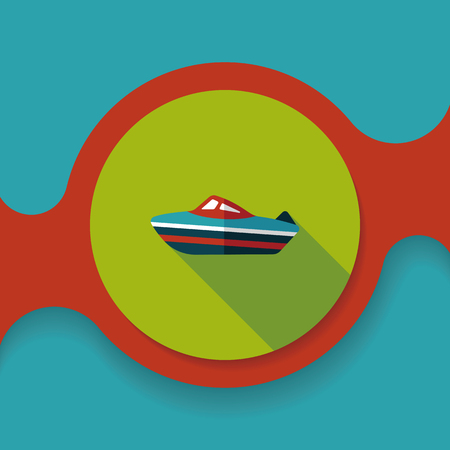 cruising: Transportation ship flat icon with long shadow,