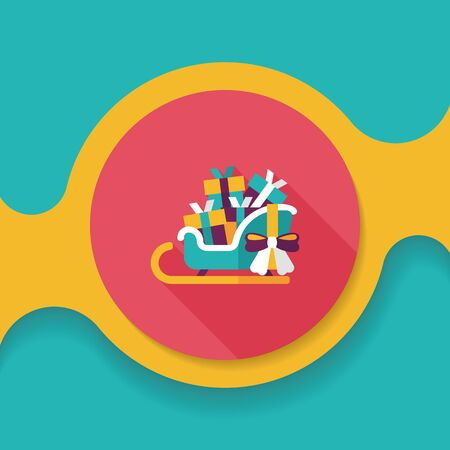 gift basket: Christmas sleigh gift basket flat icon with long shadow,