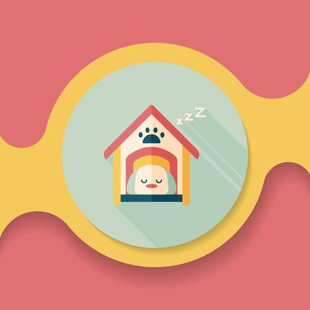 doghouse: Pet dog house flat icon with long shadow,