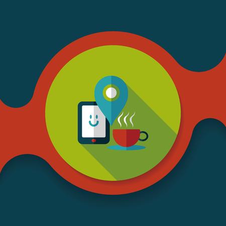 lliquid: coffee flat icon with long shadow Illustration