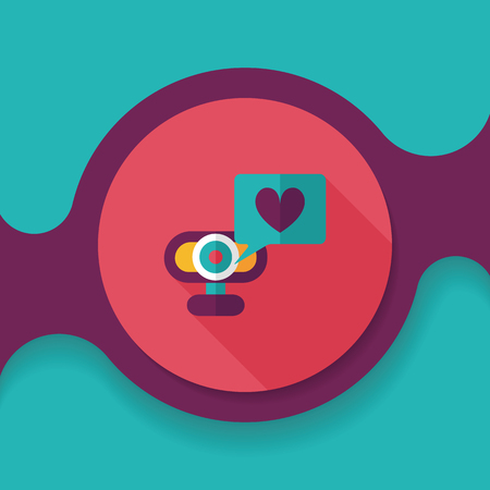 making a face: Valentines Day webcame love message flat icon with long shadow, Illustration