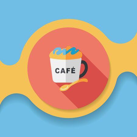커피 평면 아이콘 긴 그림자,