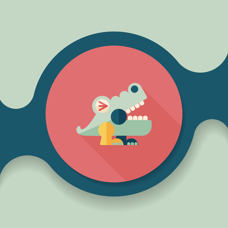 caiman: crocodile toy flat icon with long shadow, Illustration