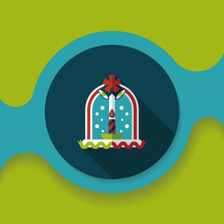 advent candles: Christmas candle flat icon with long shadow,
