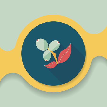 cultivating: coffee fruit flat icon with long shadow,