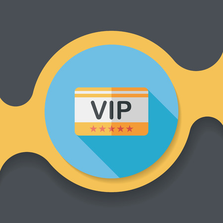 costumer: shopping vip card flat icon with long shadow,