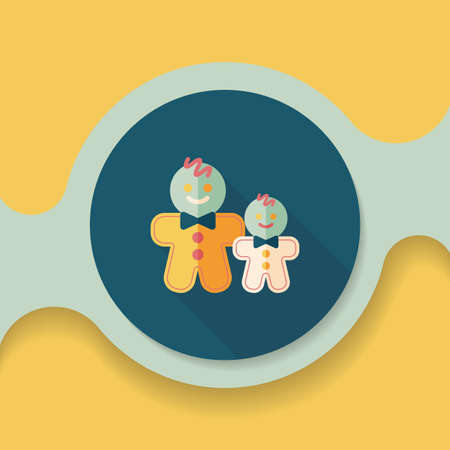 gingerbread man: Gingerbread man flat icon with long shadow,