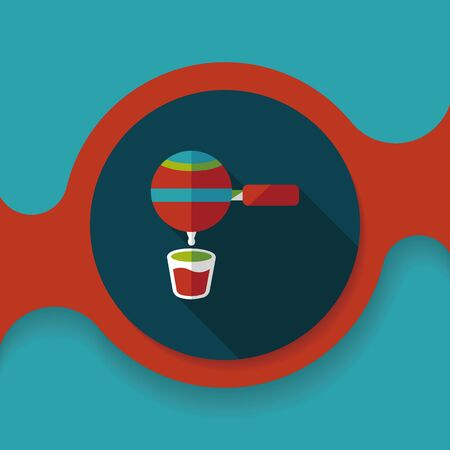 grinding: grinding coffee machine flat icon with long shadow,