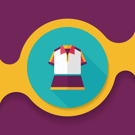 outfit: sport outfit flat icon with long shadow,