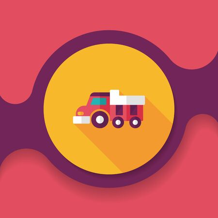 heavy vehicle: Dump truck flat icon with long shadow,