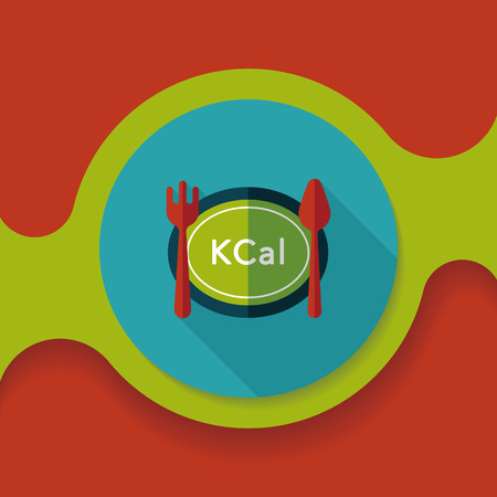 calories diet flat icon with long shadow,