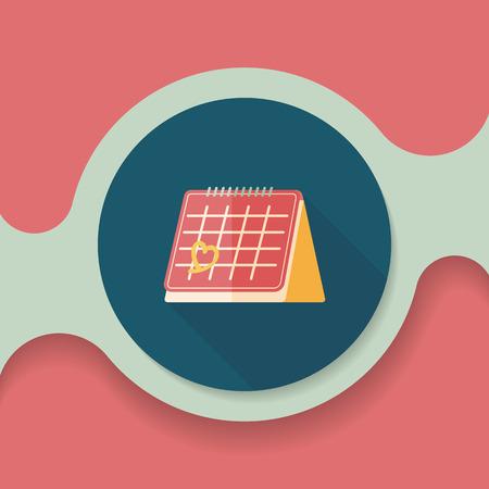 fourteen: Valentines Day February fourteen calendar flat icon with long shadow,